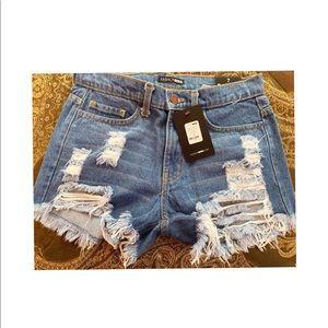 Light Blue Wash Distressed Shorts